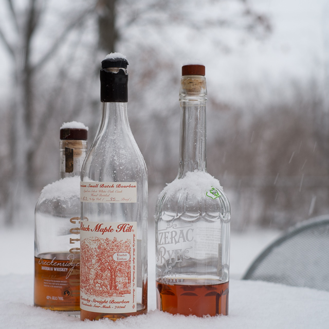 Gentle snow and brown liquor