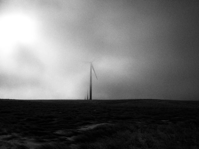 Wind turbine in fog