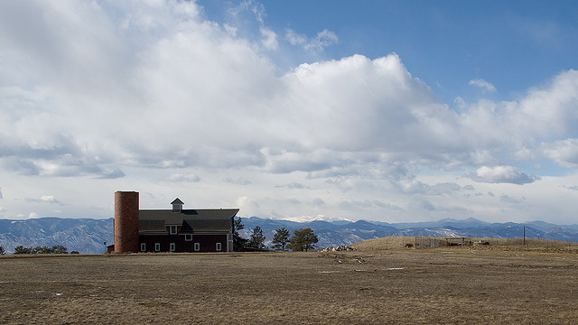 Barn and mountains